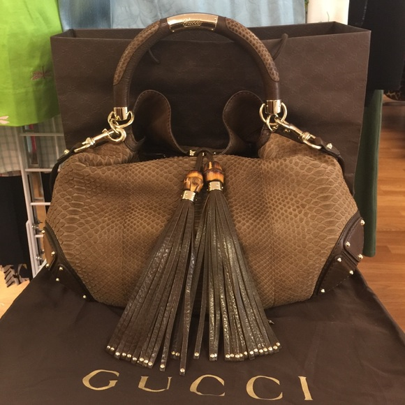 3f6126ec54a Gucci Handbags - HOST PICK! Gucci Indy Large Python Hobo Bag